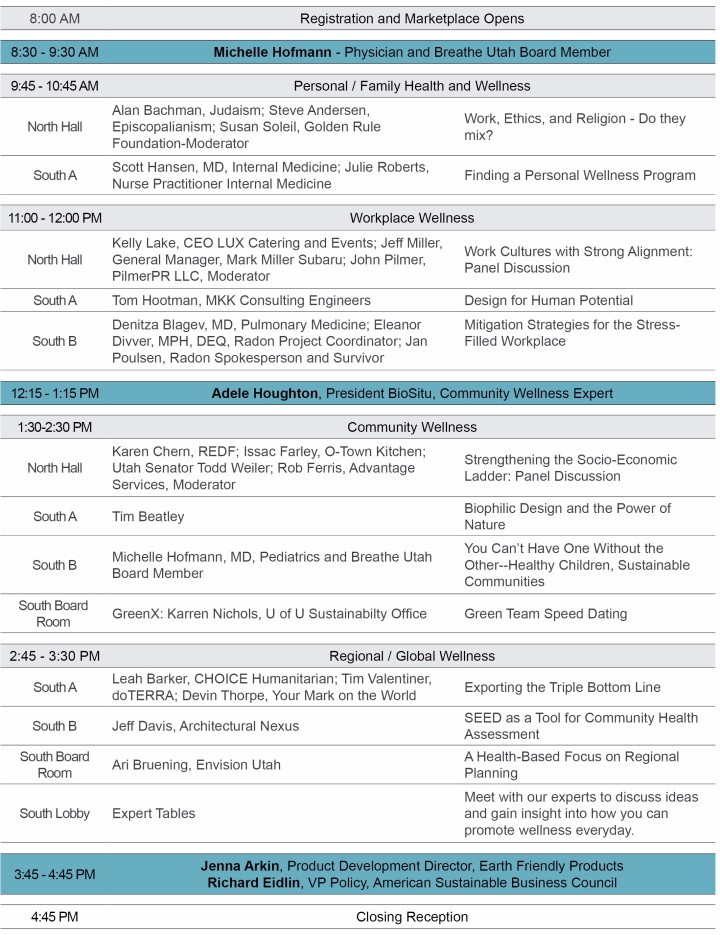 2017 Sustainability Summit - Thusday Agenda